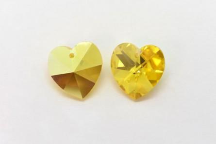6c03afbec6a06 Swarovski Crystal Heart 6202 Light Topaz AB | JBCBeads.com