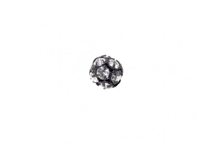 Black Plated Brass/ Crystal Swarovski Crystal Rhinestone Prong Set Pave Round Bead - 8mm