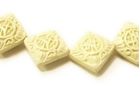 White Cinnabar ( Imitation ) Diamond Carved Beads - CW-12