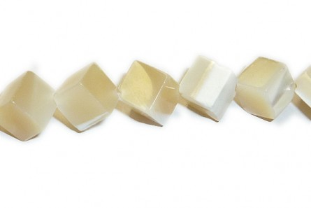 Mother of Pearl Diagonally-Drilled Cube shell Beads - Natural
