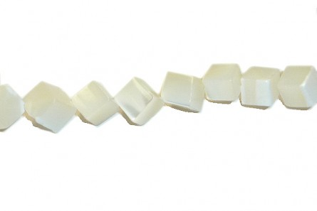 Mother of Pearl Diagonally Drilled Cube Shell  Beads - Bleached