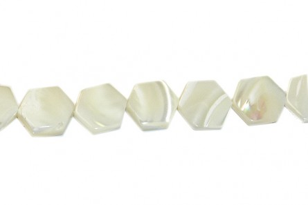 Mother of Pearl Octagon Shell Beads - Bleached