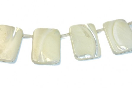 Mother of Pearl Top-Drilled Flat Rectangle Shell Beads - Bleached