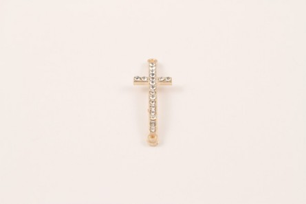 Copper Plate Crystal Pave Cross 14x44mm