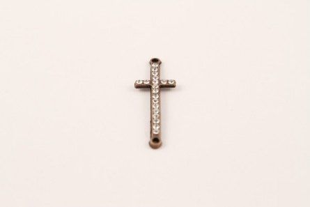 Antique Copper Crystal Pave Cross 14x44mm
