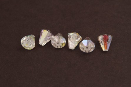 Bead, Crystal AB Swarovski Crystals, Faceted Crystal Cone (5400) 6.6x6mm.