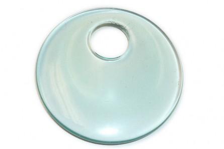 Aqua Blue Glass Go Go Donut Pendant