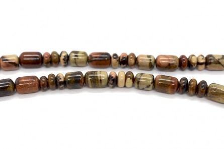 African Picture Jasper (Natural) Graduated Tube and Rondelle Mix Gemstone Beads