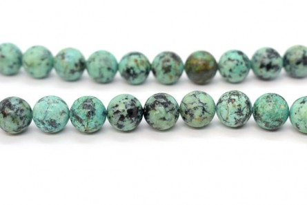 African Turquoise (Natural) A Grade Big Hole Round Gemstone  Beads