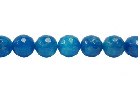 Agate (Dyed ) Faceted Disco Ball Cut Round Gemstone Beads - Blue