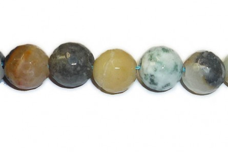 Flower Amazonite (Natural)  A grade Faceted Big Hole Round Gemstone Beads