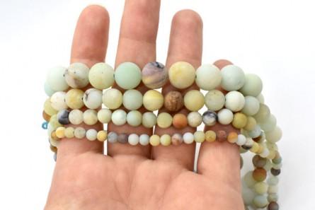 Matte Flower Amazonite (Natural) Smooth Round Gemstone Beads