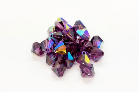 Amethyst AB Swarovski Crystal Bicone Beads 5301/5328 - Factory Pack