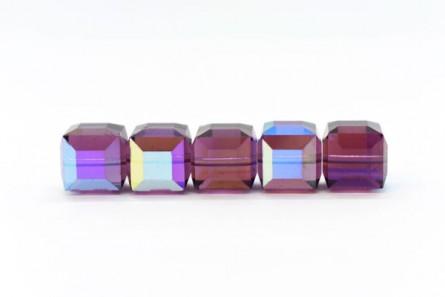 Amethyst AB Swarovski Crystal Cube Beads 5601