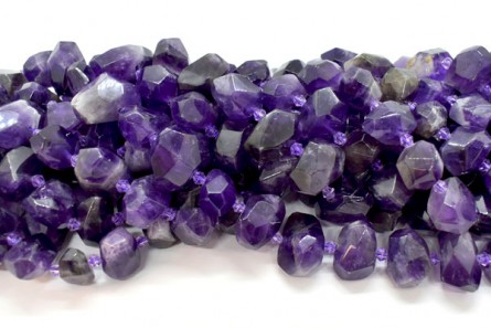 Amethyst (Natural) Large Faceted Nugget Gemstone Beads