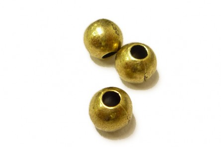 Antique Brass Plate Over Brass Round Beads