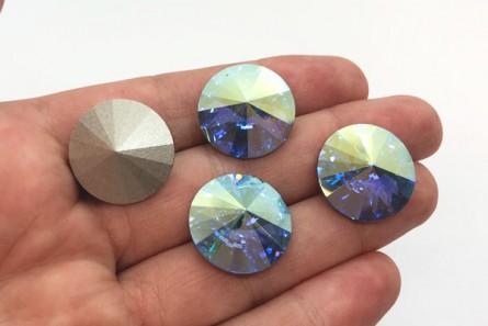 Aquamarine AB Swarovski Crystal Faceted Rivoli Rhinestone - Silver Foil Back 1122