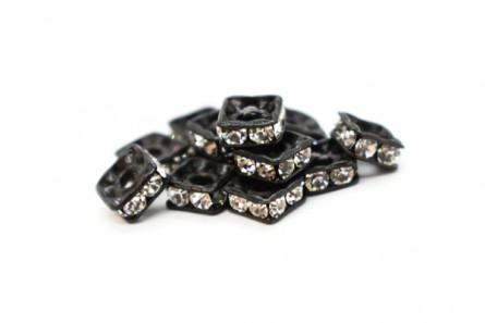 Black Plated Brass / Crystal Swarovski Crystal Rhinestone Squaredelle Spacer Bead