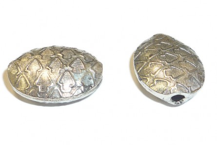 Sterling Silver Bali Style Textured Oval Big Hole Beads 14mm x 18mm BA 112