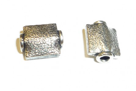 Sterling Silver Bali Style Textured Rectangle Beads 8mm x 10mm - BA123
