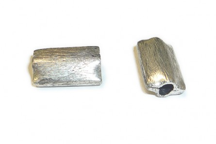 Sterling Silver Bali Style Brushed Rectangle Beads  8mm x 13mm - BA 158