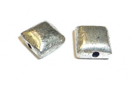 Sterling Silver Brushed Bali Style Puffed Square Bead