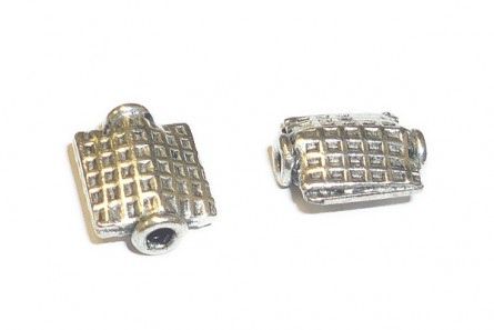 Sterling Silver Bali Style Square Bead- Honeycomb - 8mm BA 104
