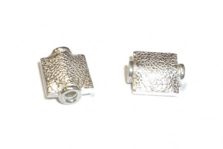 Sterling Silver Bali Style Textured Rectangle Bead (Bright) 8mm x 10mm - BA 200