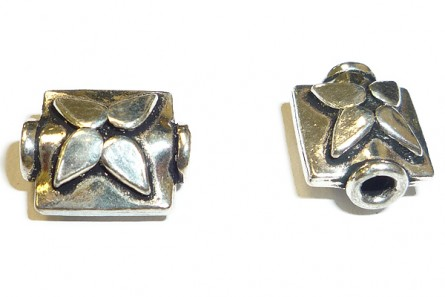 Sterling Silver Bali Style Flower Rectangle Bead 8mm x 10mm BA - 79