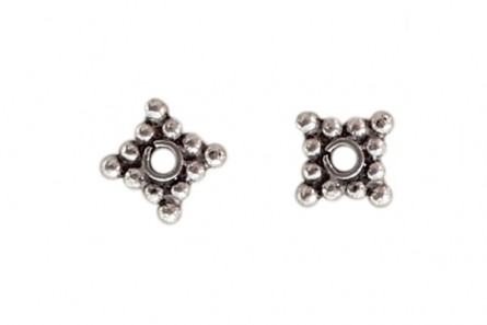 Sterling Silver Bali Style Square Spacer Bead 6mm - BA 25