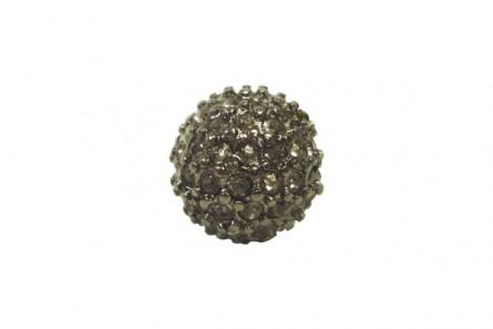 Beadelle® Black Diamond / Gunmetal Plate Crystal Pave Round Bead