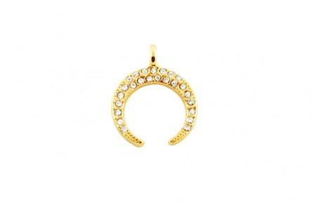 Beadelle Crystal Mini Charm, Crescent Moon  - Gold / Crystal