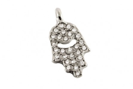 Beadelle Crystal Mini Charm, Closed Hamsa Hand, Silver Plate / Crystal, 15mm x 9.5mm