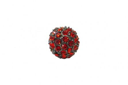 Beadelle® Light Siam / Gunmetal Plate Crystal Pave Bead Round, Big Hole