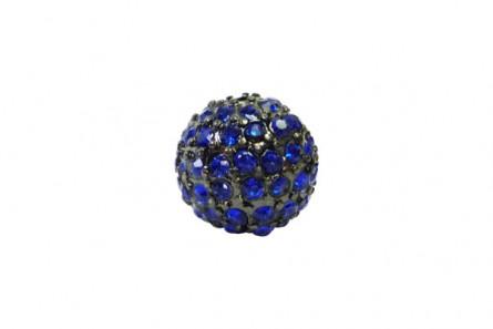 Beadelle® Sapphire / Gunmetal Plate Crystal Pave Round Bead, Big Hole