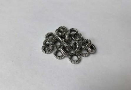 Pewter Base Metal Bead, Saucer/ Rondelle, Tire
