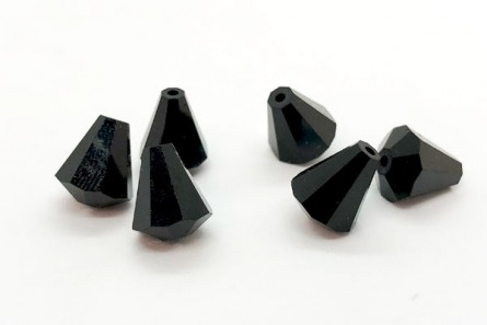 Bead, Jet Swarovski Crystals, Faceted Crystal Cone (5400) 9x8mm.