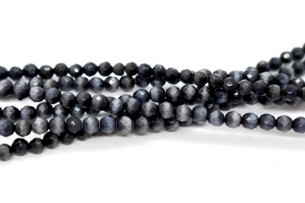 Black Fiber Optic Glass (Cat's Eye) Faceted Round Beads