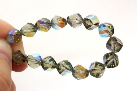 Black Diamond AB Swarovski Crystal Faceted Helix Beads 5020