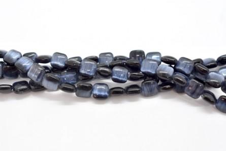 Black Fiber Optic (Cat's Eye) Glass Beads Pillow/Square