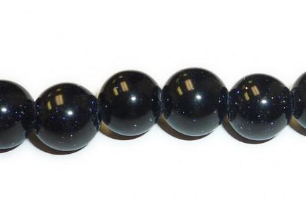 Blue Goldstone ( Man Made ) Big Hole Round Beads