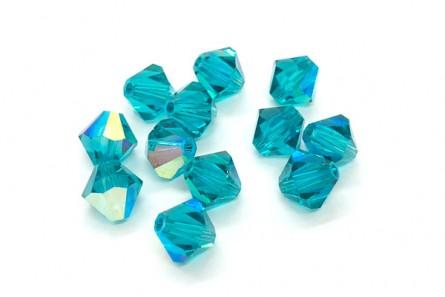 Blue Zircon AB Swarovski Crystal Bicone Beads 5301/5328 - Factory Pack