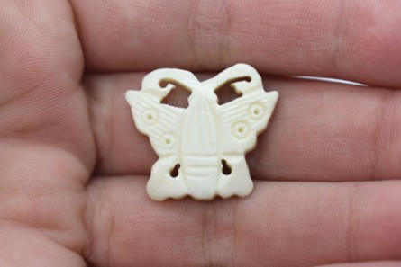 White Bone (Bleached) Carved Butterfly Beads