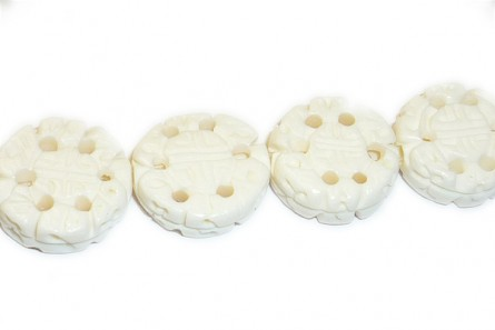 White Bone (Bleached) Carved Chinese Character Coin Beads