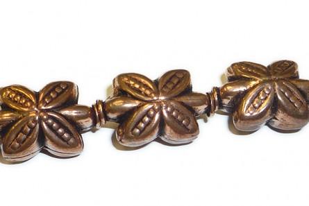 Copper Antique,Oxidized,Four Petal Flower Beads,10x15mm