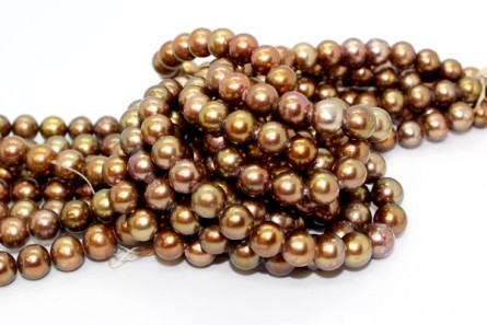 Almost Round / Potato Freshwater Pearls, Bronze / Brown,  9mm, A Grade