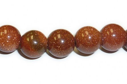 Brown Goldstone (Man Made) Smooth Round Gemstone Beads - Large Hole (Sale)