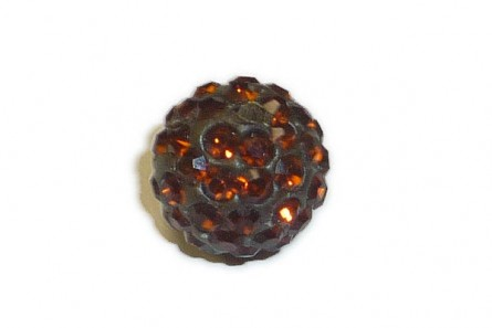 Brown Chinese Crystal Pave Round Bead