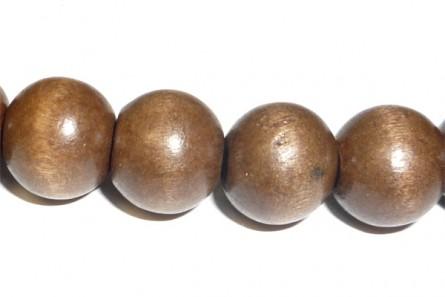 Wood Big Hole Round Bead - Brown