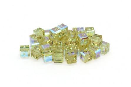 Cantaloupe AB Swarovski Crystal Cube Beads 5601